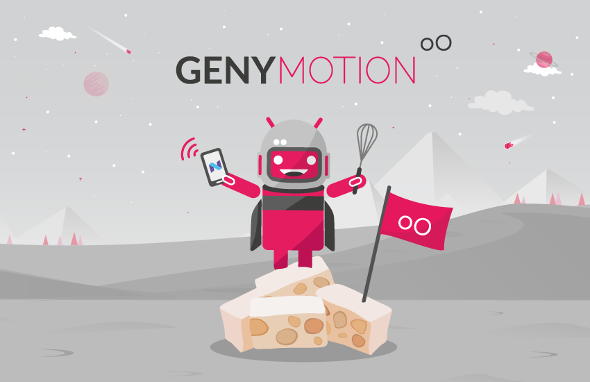 Genymotion mascot on a pile of Nougats